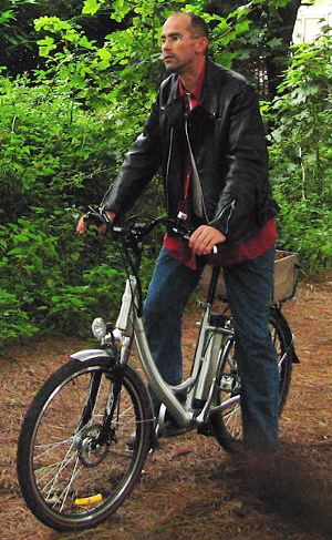 On the Swift electric bicycle, in the woods near Aldeburgh